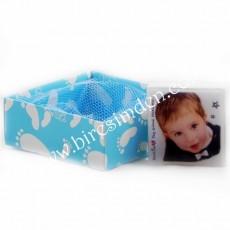 Fotoğraflı Erkek Bebek Butik Sabun (Kare)