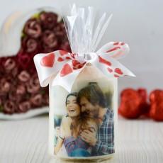 Sevgililere Özel Fotoğraflı ve İsimli Silindir Mum