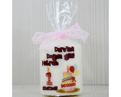 Kız Bebeklere Özel Bebek Şekeri Fotoğraflı ve İsimli Doğum Günü Mumu