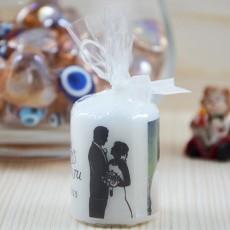 Nikah Şekeri Fotoğraflı Mum - Gelin & Damat
