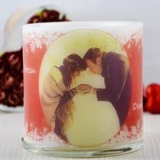 Fotoğraflı Saksı Mum - Romantik Yeni Yıl Hediyesi