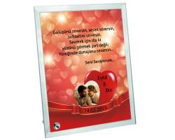 Aşk Dolu Fotoğraf ve Mesaj Baskılı Cam Çerçeve - Sevgililer Günü Hediyesi