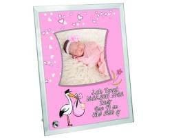 Hoşgeldin Bebek Fotoğraf Baskılı Cam Çerçeve - Kız Bebek Hediyesi