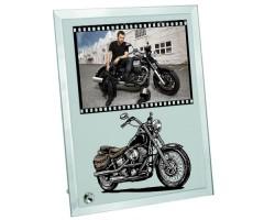 Motorcuya Hediye Fotoğraf Baskılı Cam Çerçeve