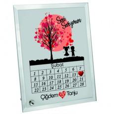 Sevgililer Günü Hediyesi 14 Şubat Tarihli ve İsimli Cam Çerçeve