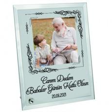 Canım Dedem Fotoğraf ve Mesaj Baskılı Cam Çerçeve - Dedeye Babalar Günü Hediyesi