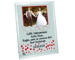 Evlilik Yıldönümü Hediyesi Fotoğraflı Kalp Tasarım Romantik Cam Çerçeve