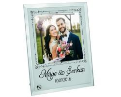 Evlilik Yıldönümü Hediyesi İsim Tarih Fotoğraflı Kişiye Özel Cam Çerçeve