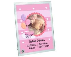 Yeni Doğan Kız Bebek Hediyesi Fotoğraf Baskılı Cam Çerçeve - Hoşgeldin Bebek