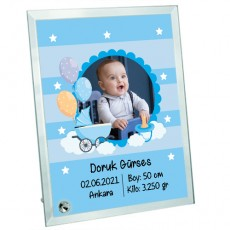 Yeni Doğan Erkek Bebek Hediyesi Fotoğraf Baskılı Cam Çerçeve - Hoşgeldin Bebek
