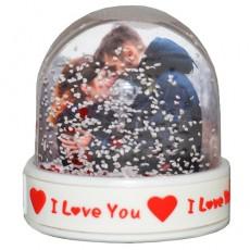 Sevgiliye Hediye Fotoğraflı Kar Küresi - I Love You