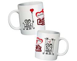 İsimli Love Sevgili Kupa Bardak
