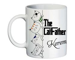 Kedi Seven ve Besleyen Erkeğe Cat Father İsimli Hediyelik Kupa Bardak
