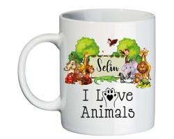 """Hayvanseverlere Özel """"I Love Animals"""" İsim Baskılı Kupa Bardak"""