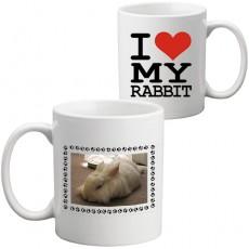 """Fotoğraflı """"Tavşanımı Seviyorum"""" Kupa Bardak"""