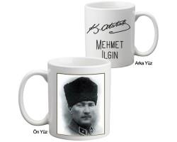 İmzalı Atatürk Fotoğraflı Kupa Bardak