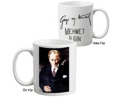 İmzalı Gazi Mustafa Kemal Atatürk Kupa Bardak