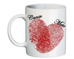 İsimli Sevgili Kupa Bardak - Parmak İzinden Kalp