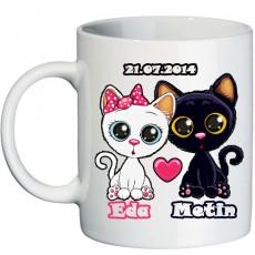 Aşık Kediler Sevgili Kupa Bardak - İsme Özel Hediye