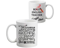 İngilizce Öğretmenine Hediye Best Teacher Kupa Bardak - Öğretmenler Günü Hediyesi