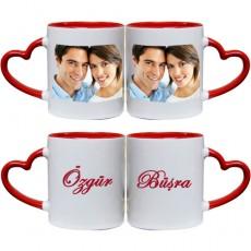 Kalpli Sevgili Kupa Seti - Sevgililere Özel Fotoğraf ve İsimli
