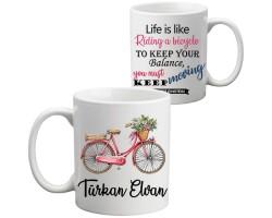 Bayan Bisikletçi Hediyesi İsimli Kupa Bardak