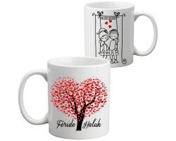 Aşk Ağacı İsimli Sevgililer Günü Kupa Bardak