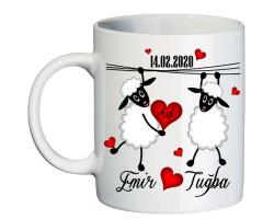 Sevgililer Günü Hediyesi İsimli Kuzu Aşk Kupa Bardak