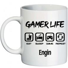 Gamer Life Oyuncuya Hediye İsimli Kupa Bardak