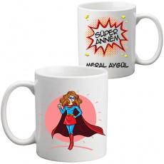 Süper Annem İsim Baskılı Anneler Günü Hediyesi Kupa Bardak