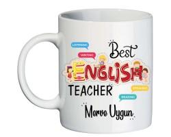 İngilizce Öğretmenine Öğretmenler Günü Hediyesi İsimli Kupa Bardak