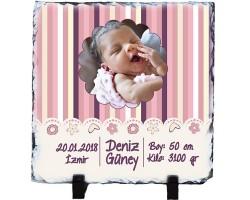 Yeni Doğan Bebek Hediyesi Fotoğraflı Taş (20x20 cm)