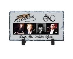 Atatürk Fotoğraflı İsimli Hediyelik Doğal Taş Çerçeve