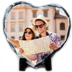 Kalp Şeklinde Fotoğraf Baskılı Doğal Taş Çerçeve (15x15 cm)