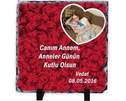 Anneler Günü Hediyesi - Güllerle Süslü Doğal Taş Çerçeve