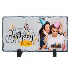 Doğum Günü Hediyesi Happy Birthday Fotoğraflı Doğal Taş Çerçeve (13x23 cm)