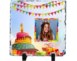 Doğum Günü Hediyesi Fotoğraflı Taş Çerçeve (20x20 cm)