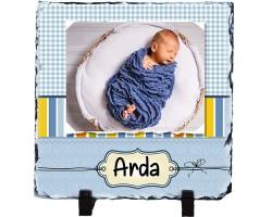 Erkek Bebek Yeni Doğan Hediyesi Fotoğraflı İsimli Taş Çerçeve