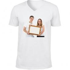 Fotoğraf Baskılı Tişört V yaka