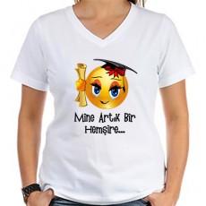 Mezuniyet Hediyesi - Bayan Emojili Tişört