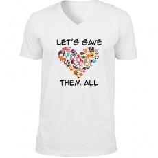 """Hayvanseverlere Özel """"Lets Save Them All"""" T-shirt (Unisex)"""