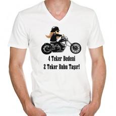 Motorcuya Hediye Mesajlı Chopper Tişört