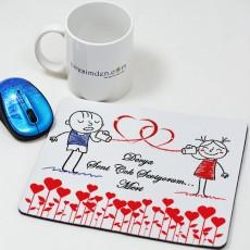 Sevgililer Günü Hediyesi - İsme Özel Mesajlı Kalpli Mousepad