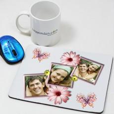 Çiçekli Kolaj Mousepad - Sevgiliye Hediye