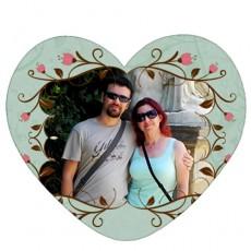 Çiçekli Sevgili Kalp Magnet (14x13 cm)