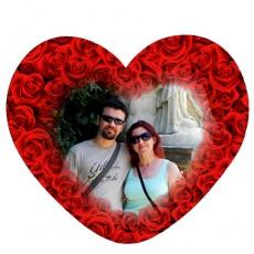 Kırmızı Güllü Sevgili Kalp Magnet (14x13 cm)