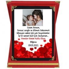 Anneler Gününe Özel Fotoğraflı Plaket (Kalpler)