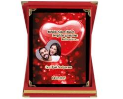 14 Şubat Sevgililer Günü Hediyesi Kırmızı Kalpli Sevgili Plaketi