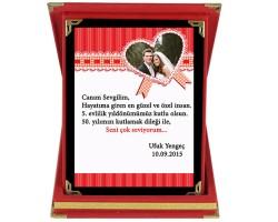 Sevgililer Günü Hediyesi Fiyonklu Kalp Sevgili Plaketi