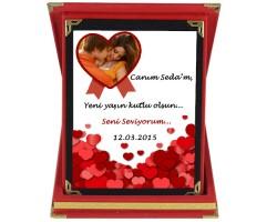 Sevgiliye Hediye Fotoğraflı Minik Kalpler Sevgili Plaketi